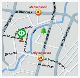 Карта проезда к магазину на Сухонской