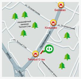 Карта проезда к магазину в Тёплом стане
