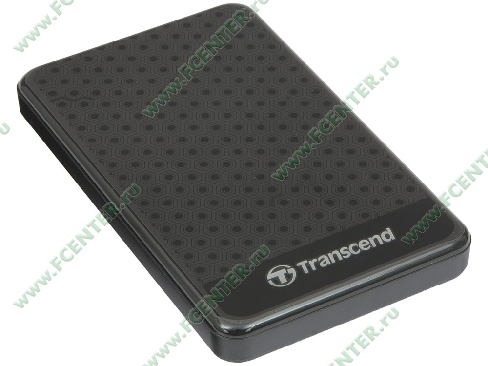 "Внешний жесткий диск Внешний жесткий диск 1ТБ 2.5"" Transcend ""StoreJet 25A3"" TS1TSJ25A3K, черный . Вид спереди."