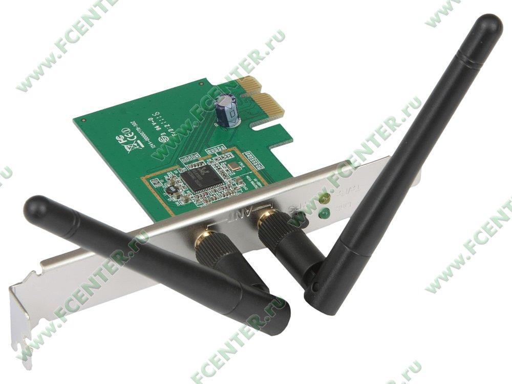 """Сетевая карта Wi-Fi 300Мбит/сек. ASUS """"PCE-N15"""" (PCI-E x1). Вид спереди."""
