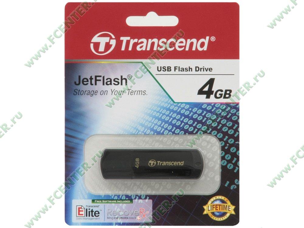 """Накопитель USB flash Флеш-драйв 4ГБ Transcend """"JetFlash 350"""" (USB2.0). Коробка."""