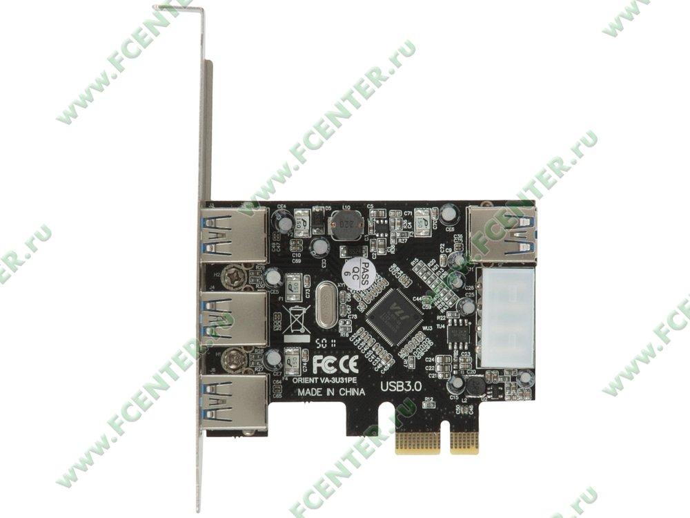 "Контроллер USB3.0 ORIENT ""VA-3U31PE"" (PCI-E x1). Вид сверху."