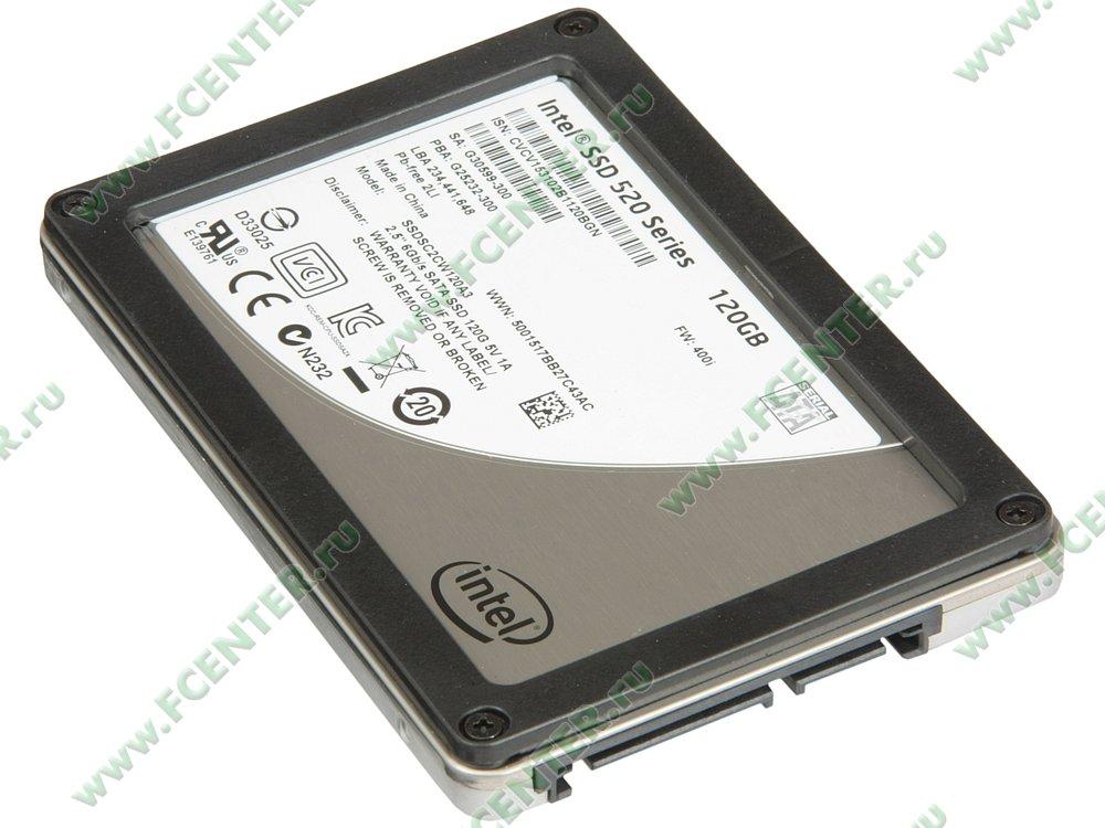 """SSD диск 120ГБ 2.5"""" Intel """"520"""" SSDSC2CW120A310 (SATA III). Вид спереди."""