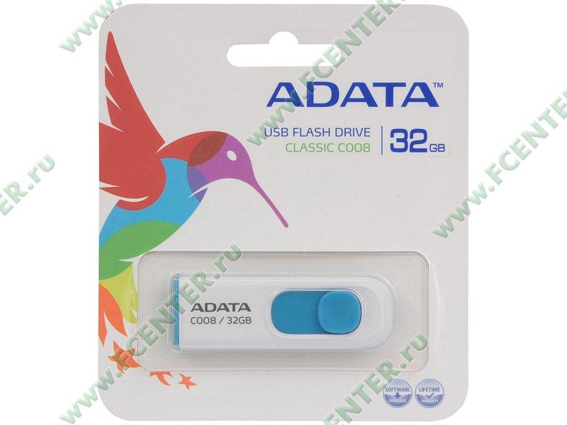 """Накопитель USB flash Накопитель USB flash 32ГБ ADATA """"Classic C008"""" AC008-32G-RWE, бело-синий . Коробка."""