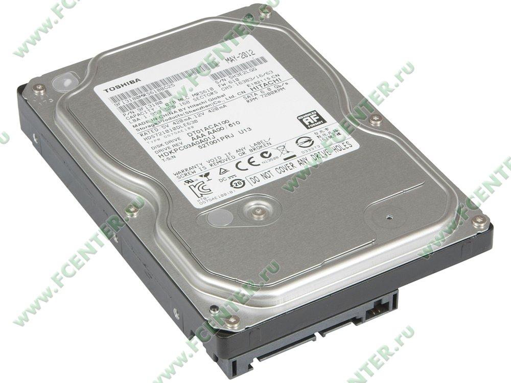 "Жесткий диск 1ТБ Toshiba ""DT01ACA100"" (SATA III). Вид спереди."