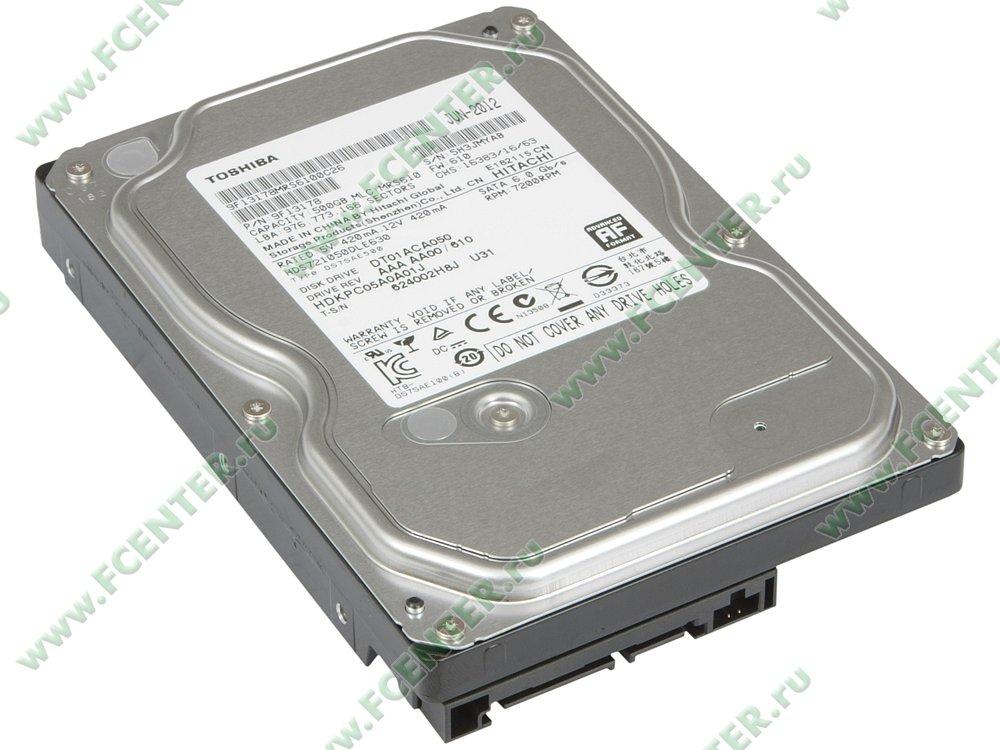 "Жесткий диск 500ГБ Toshiba ""DT01ACA050"" (SATA III). Вид спереди."