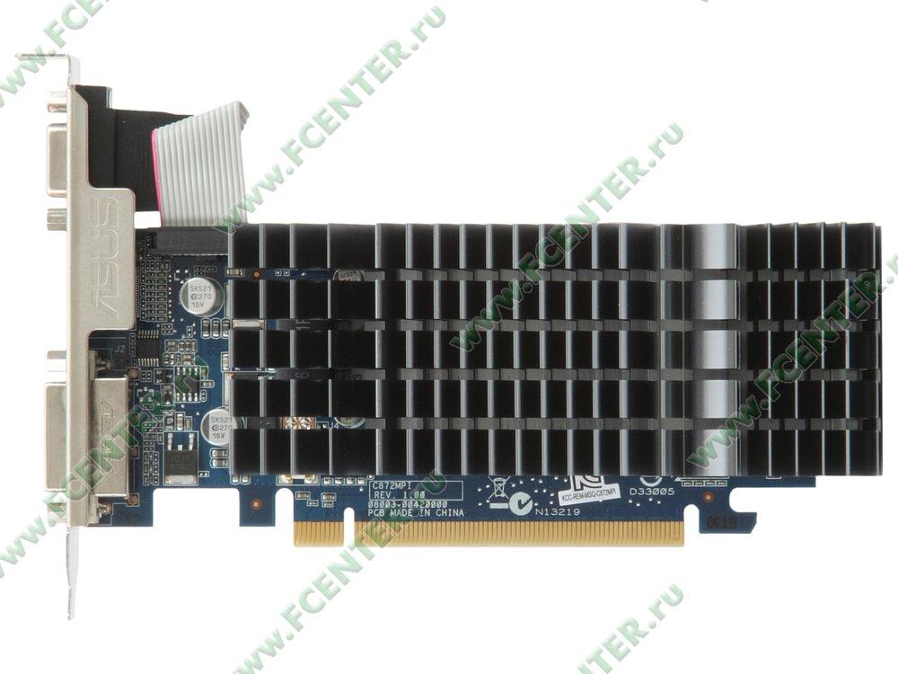 """Видеокарта PCI-E 512МБ ASUS """"GeForce 210"""" 210-SL-TC1GD3-L. Вид сверху."""