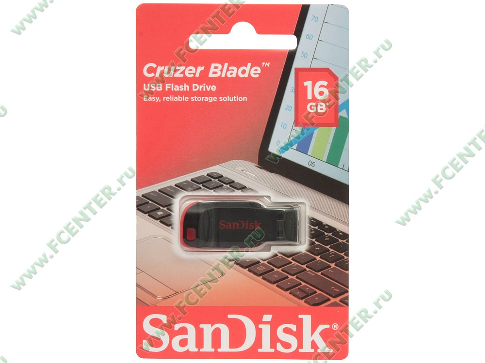 "Накопитель USB flash 16ГБ SanDisk ""Cruzer Blade"" (USB2.0). Коробка 1."