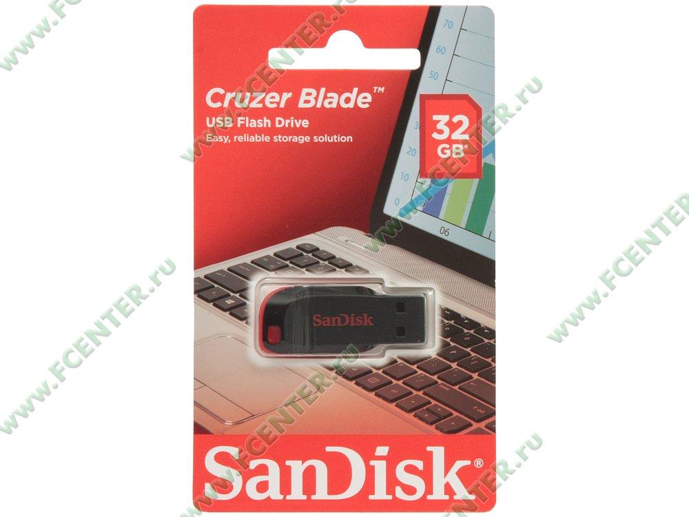 """Накопитель USB flash Накопитель USB flash 32ГБ SanDisk """"Cruzer Blade"""" SDCZ50-032G-B35, черно-красный . Коробка 1."""