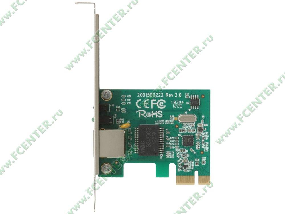 """Сетевая карта Ethernet 1Гбит/сек. TP-Link """"TG-3468"""" (PCI-E x1). Вид сверху."""