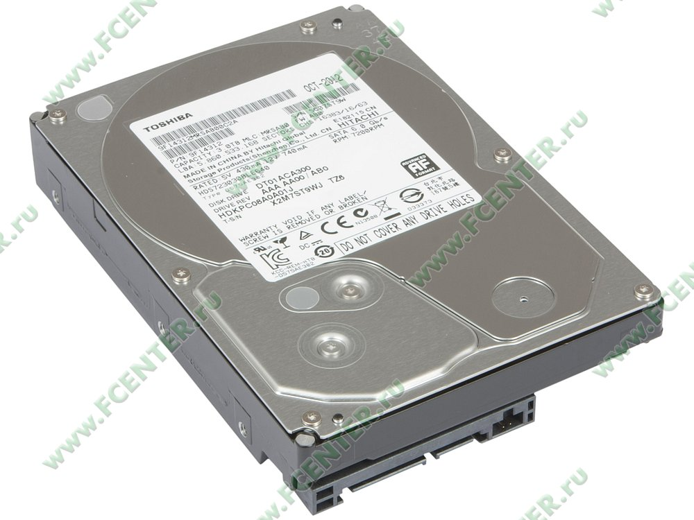 "Жесткий диск 3ТБ Toshiba ""DT01ACA300"" (SATA III). Вид спереди."