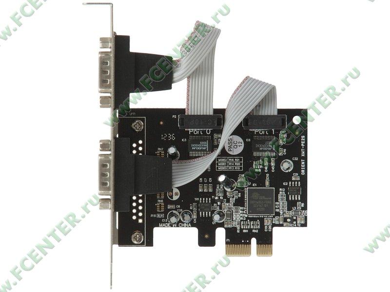 "Контроллер COM ORIENT ""XWT-PE2S"" (PCI-E x1). Вид сверху."
