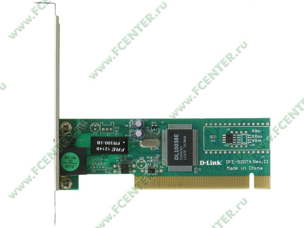 """Сетевая карта Ethernet 100Мбит/сек. D-Link """"DFE-520TX"""" (PCI). Вид сверху."""