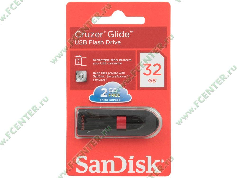 "Накопитель USB flash Накопитель USB flash 32ГБ SanDisk ""Cruzer Glide"",SDCZ60-032G-B35 черный . Коробка."