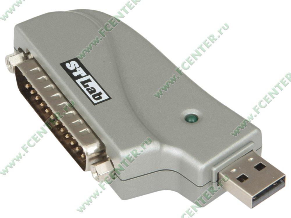 STLab.  Комплект поставки.  Переходник, кабель-переходник LPT-LPT+COM, CD, описание.