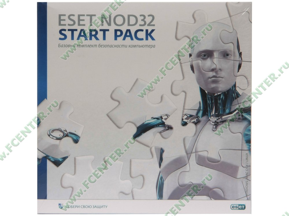"""Программа для комплексной защиты Eset """"NOD32 Start Pack"""", 1 ПК на 1 год, рус.. Вид cпереди."""