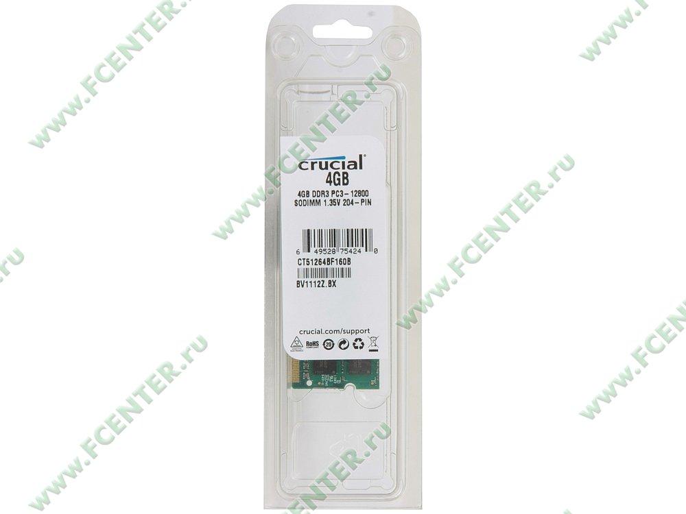 """Модуль оперативной памяти 4ГБ DDR3L Crucial """"CT51264BF160B"""" (PC12800, CL11). Коробка."""