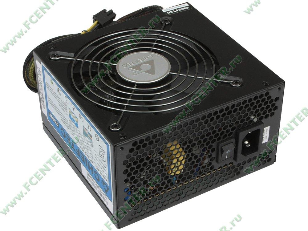 """Блок питания 750Вт Chieftec """"A80 CTG-750C"""" ATX12V V2.3. Вид спереди."""
