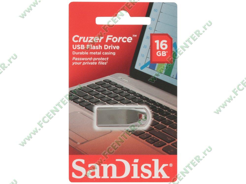 "Накопитель USB flash 16ГБ SanDisk ""Cruzer Force"" (USB2.0). Коробка."