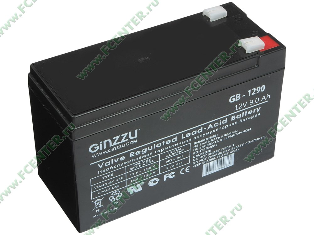 "Батарея аккумуляторная Ginzzu ""GB-1290"" 12В 9.0 А*ч. Вид спереди."