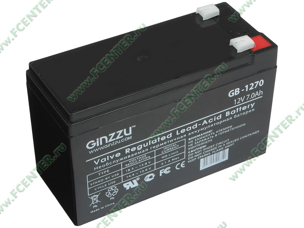 "Батарея аккумуляторная Ginzzu ""GB-1270"" 12В 7.0 А*ч. Вид спереди."