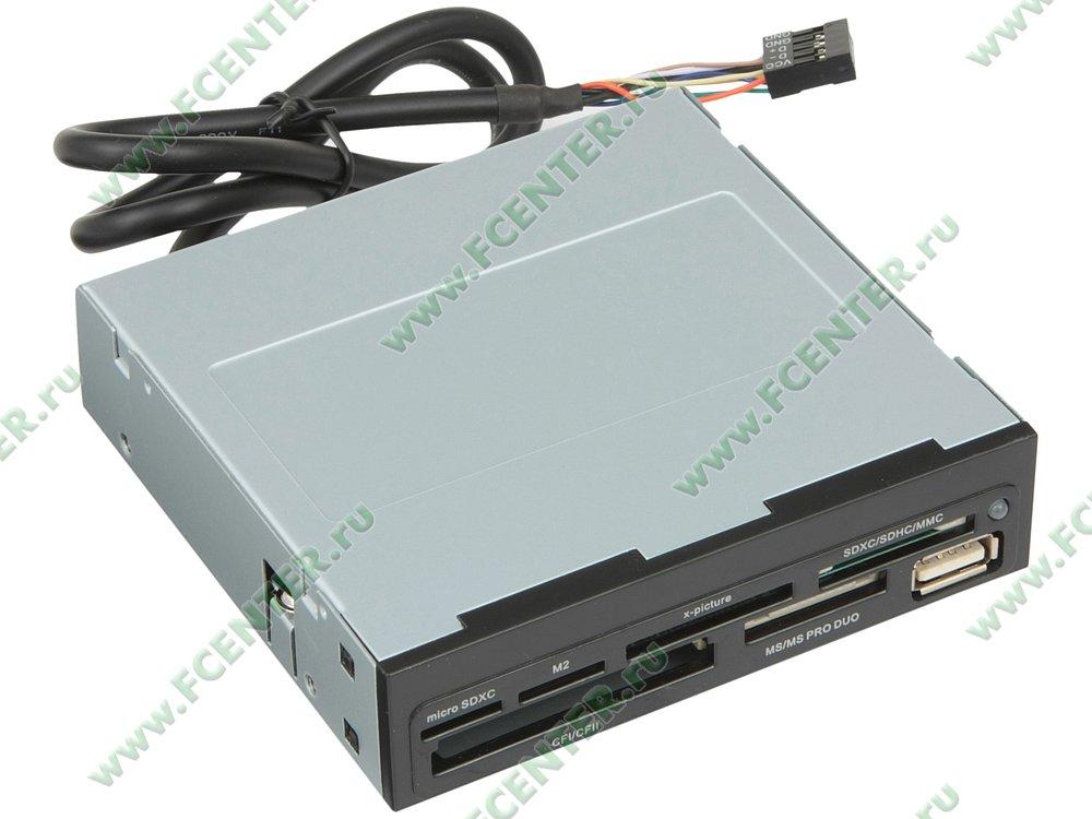 "Картридер Ginzzu ""GR-136UB"" (USB2.0). Вид спереди."