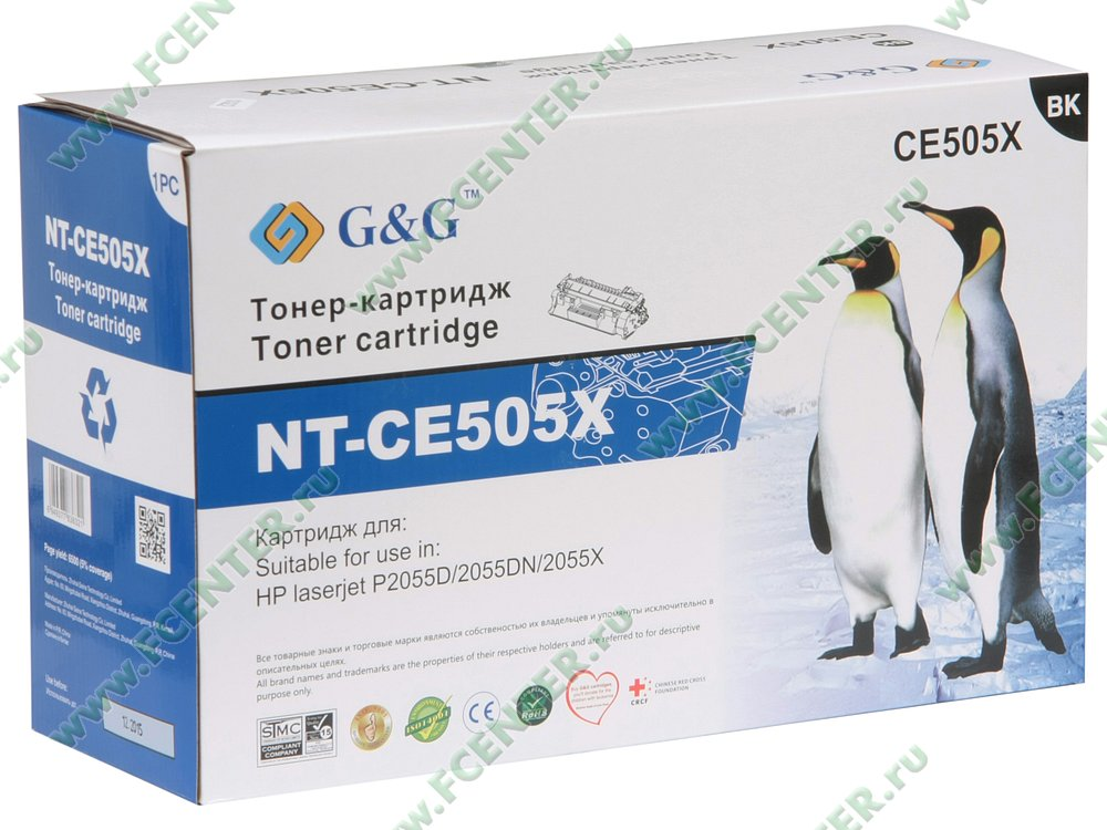"""Картридж Картридж G&G """"NT-CE505X"""" (черный). Коробка."""