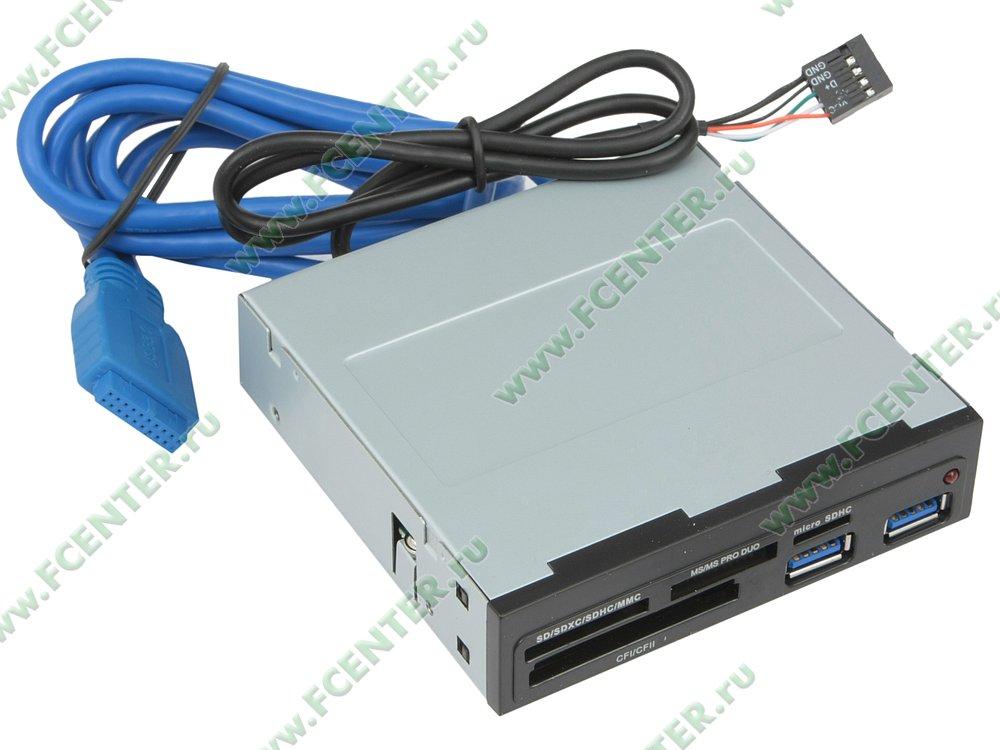 "Картридер Картридер Ginzzu ""GR-152UB"" (USB2.0). Вид спереди."