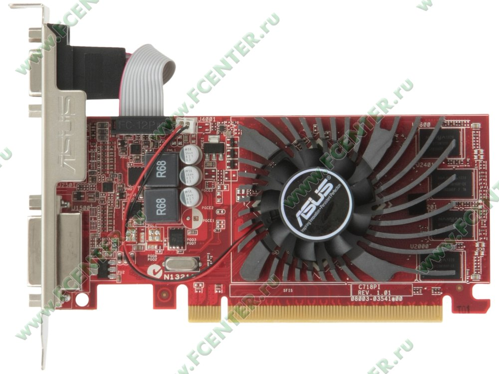 """Видеокарта PCI-E 2048МБ ASUS """"R7240-2GD3-L"""". Вид сверху."""