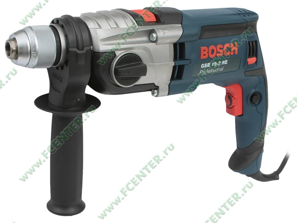 "Дрель-шуруповёрт Bosch ""GSB 19-2 RE Professional"", ударная. Вид спереди."