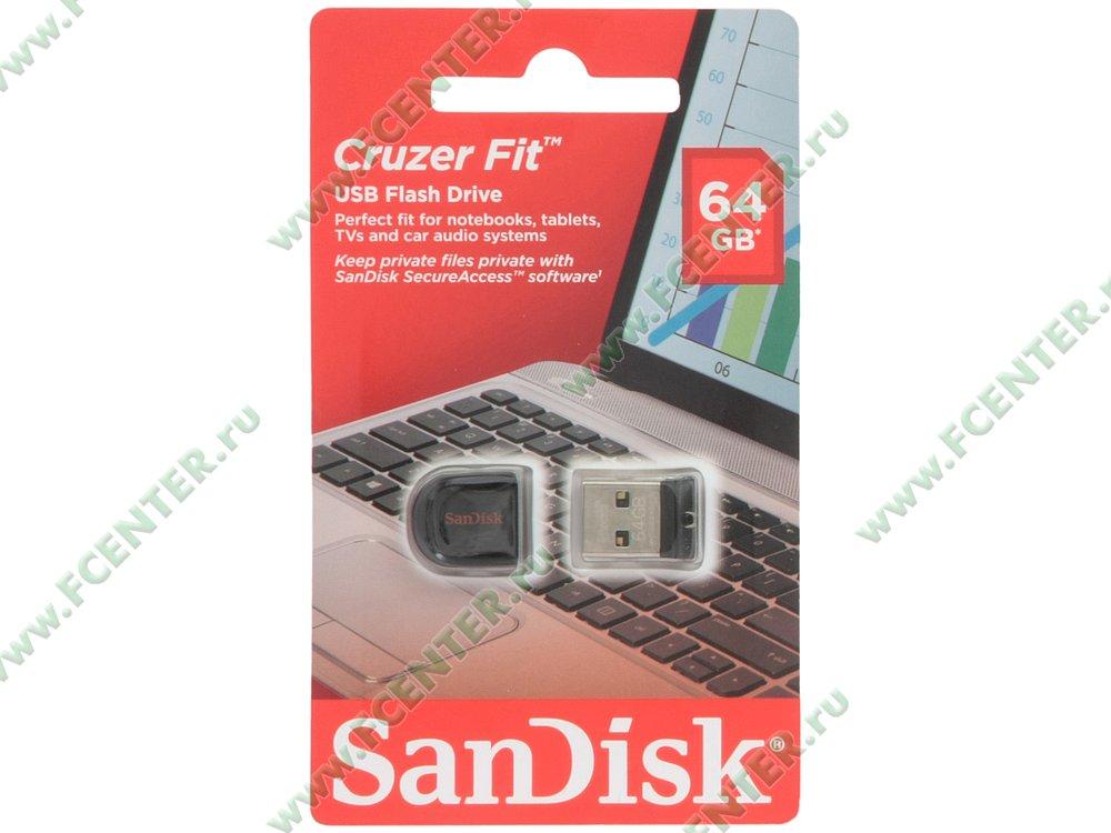 """Флеш-драйв 64ГБ SanDisk """"Cruzer Fit"""" (USB2.0)"""