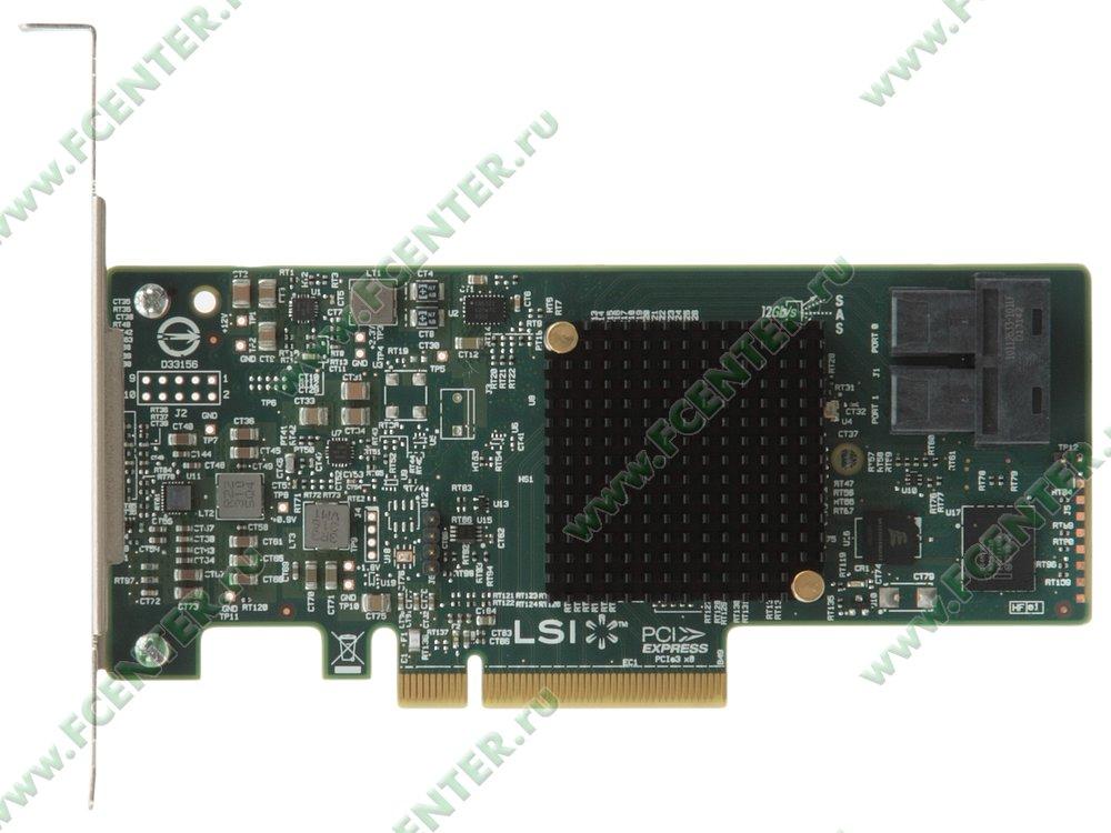 "HBA-адаптер SAS/SATA LSI Logic ""Host Bus Adapter 9300-8i"" (PCI-E x8). Вид сверху."
