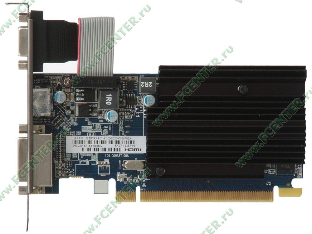 "Видеокарта PCI-E 1ГБ Sapphire ""Radeon R5 230"". Вид сверху."