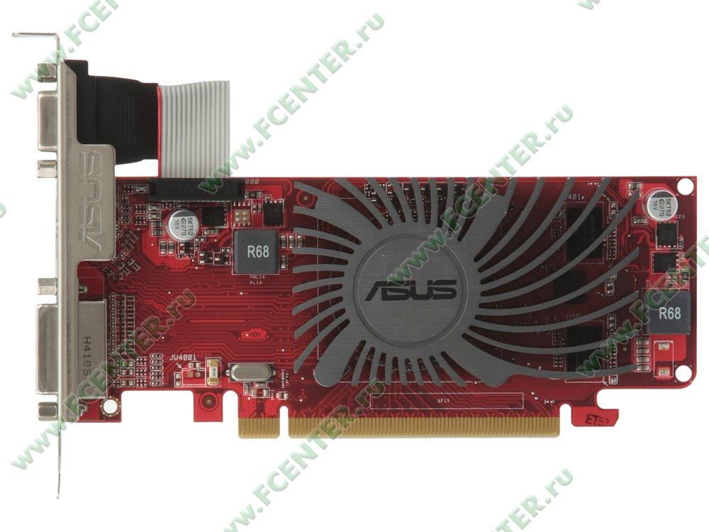 """Видеокарта PCI-E 1ГБ ASUS """"Radeon R5 230"""" R5230-SL-1GD3-L. Вид сверху."""