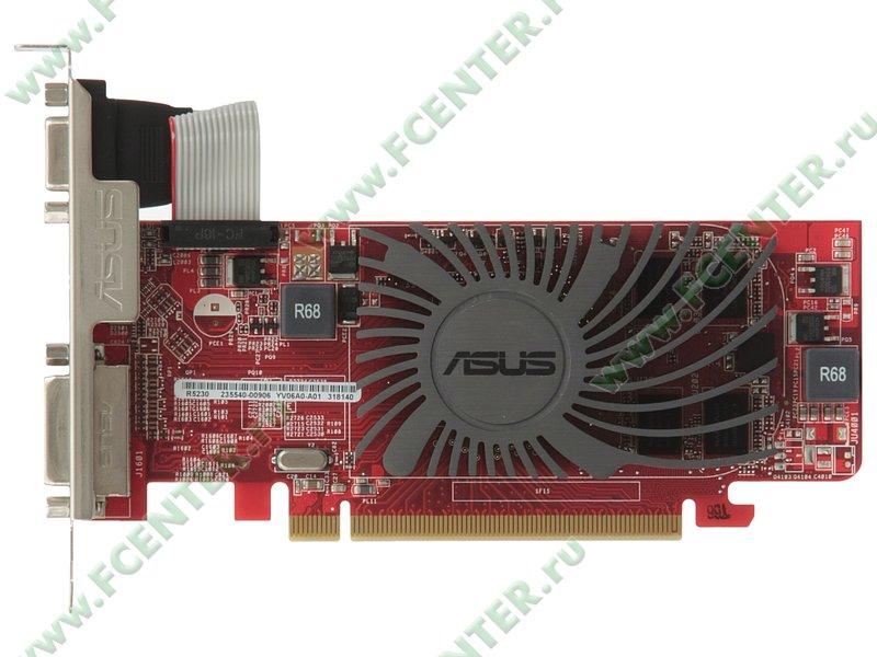 """Видеокарта PCI-E 2ГБ ASUS """"Radeon R5 230"""" R5230-SL-2GD3-L. Вид сверху."""