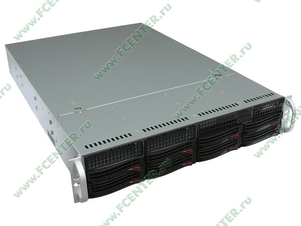 "Серверный корпус Supermicro ""CSE-825TQ-R740LPB"" (720Вт). Вид спереди 1."