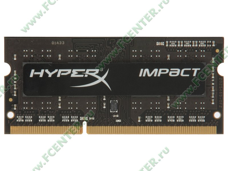 """Модуль оперативной памяти 4ГБ DDR3L Kingston """"HyperX Impact"""" (PC12800, CL9). Вид сверху."""