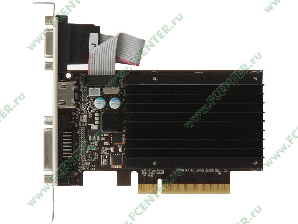 """Видеокарта PCI-E 2ГБ Palit """"GeForce GT 730"""". Вид сверху."""