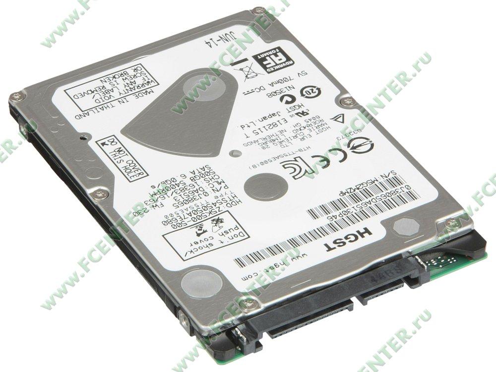 """Жесткий диск 500ГБ Western Digital """"HGST HTS545050A7E680"""" (SATA III). Вид спереди."""