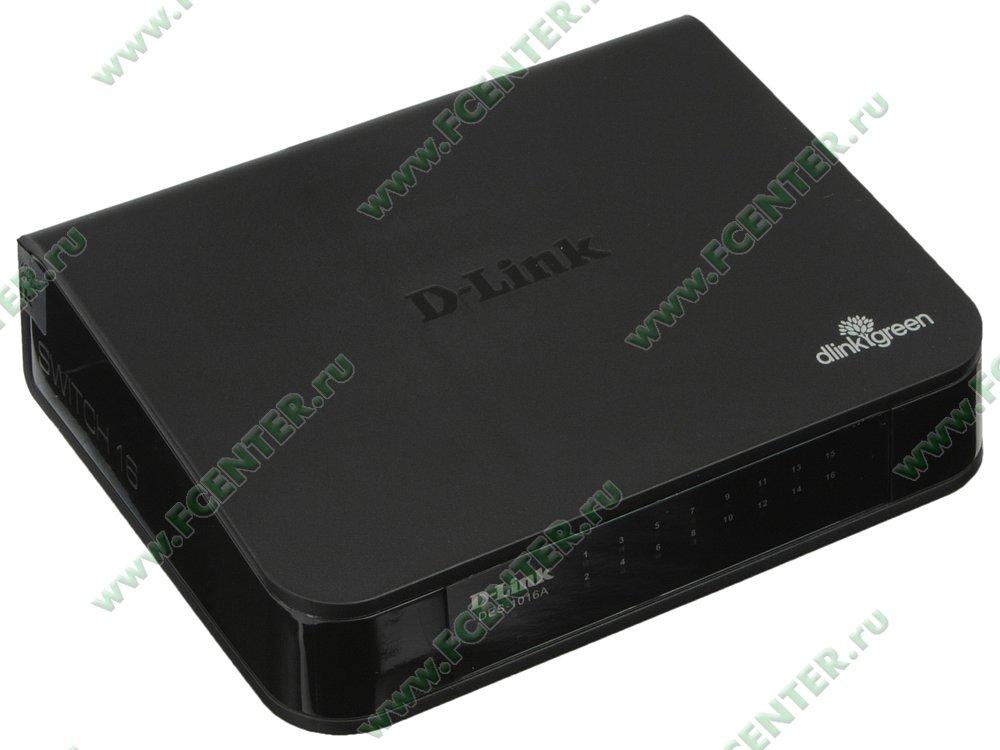 """Коммутатор D-Link """"DES-1016A/E1B"""" 16 портов 100Мбит/сек.. Вид спереди."""