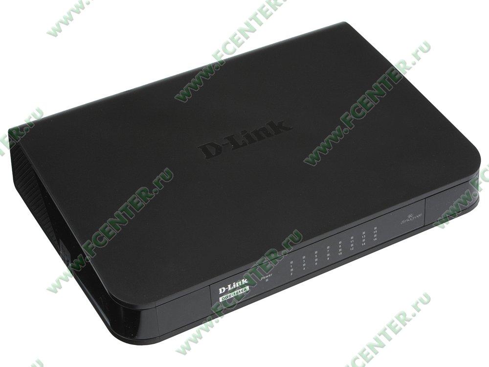 """Коммутатор D-Link """"DGS-1016A/B1B"""" 16 портов 1Гбит/сек.. Вид спереди."""