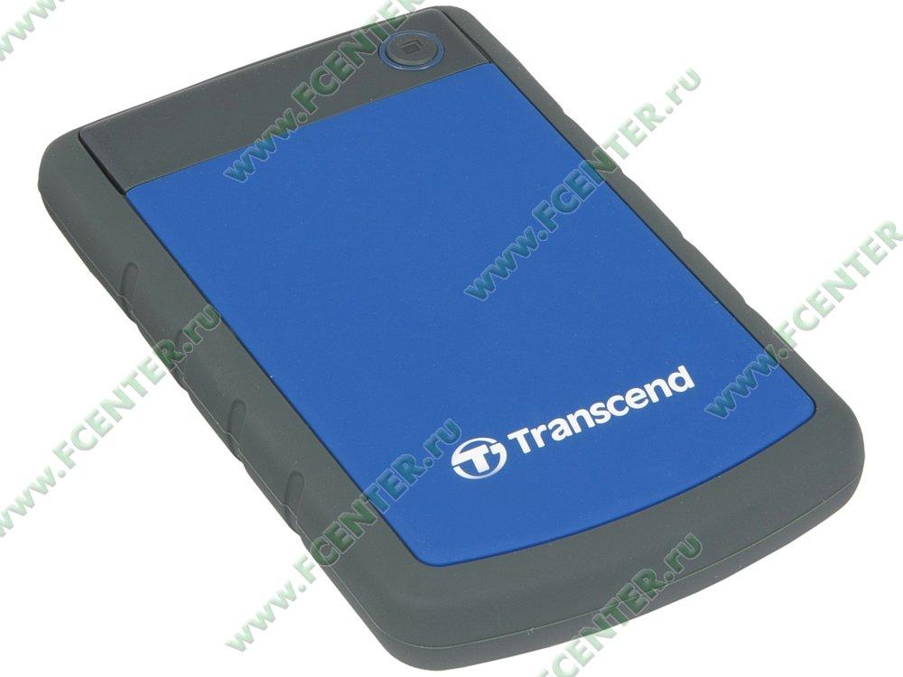 """Внешний жесткий диск Внешний жесткий диск 1ТБ 2.5"""" Transcend """"StoreJet 25H3"""" TS1TSJ25H3B, серо-синий . Вид спереди."""