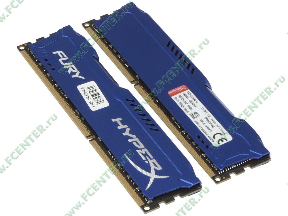 """Модуль оперативной памяти 2x8ГБ DDR3 Kingston """"HyperX FURY"""" (PC12800, CL10). Вид спереди."""