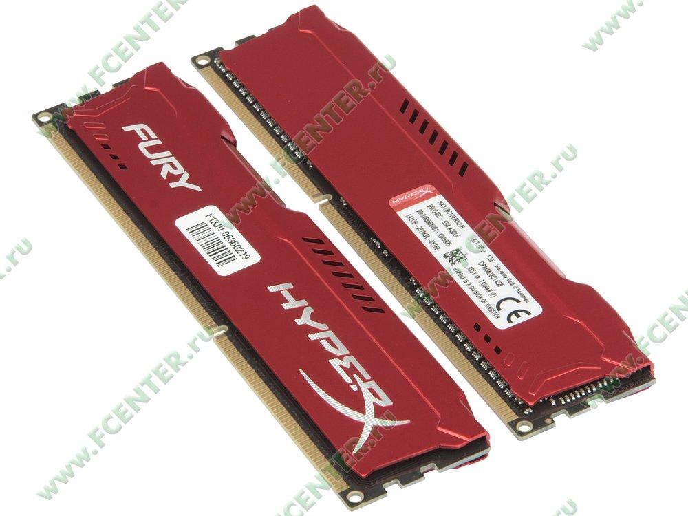 """Модуль оперативной памяти 2x4ГБ DDR3 Kingston """"HyperX FURY"""" (PC14900, CL10). Вид спереди."""
