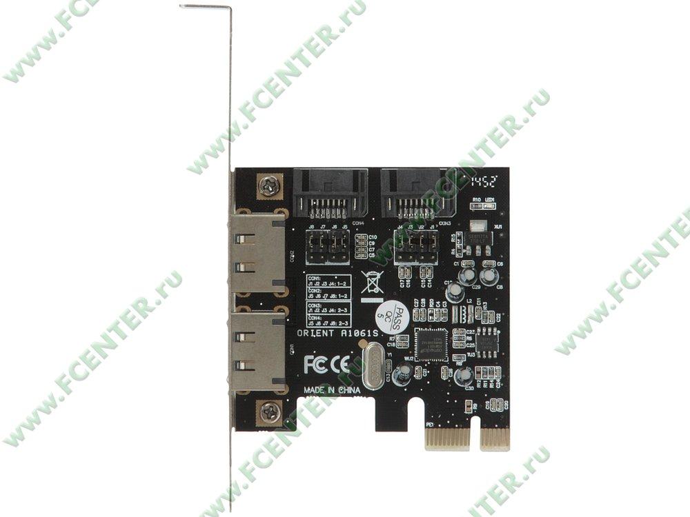 "Контроллер SATA III + e-SATA ORIENT ""A1061S"" (PCI-E x1). Вид сверху."