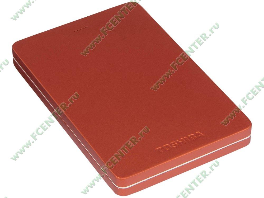 "Внешний жесткий диск 1ТБ Toshiba ""Canvio Alu"" (USB3.0). Вид спереди."