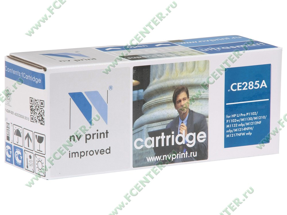 "Картридж NV Print ""CE285A"" (черный). Коробка."