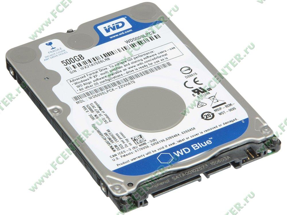 "Жесткий диск 500ГБ Western Digital ""Blue WD5000LPCX"" (SATA III). Вид спереди."