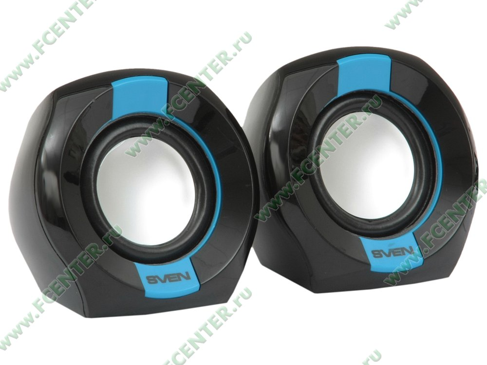 "Акустическая система Акустическая система стерео Sven ""150"" 2x2.5Вт, питание от USB, черно-синий . Вид спереди 1."