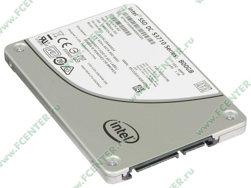 """SSD диск 800ГБ 2.5"""" Intel """"DC S3710"""" SSDSC2BA800G401 (SATA III). Вид спереди."""